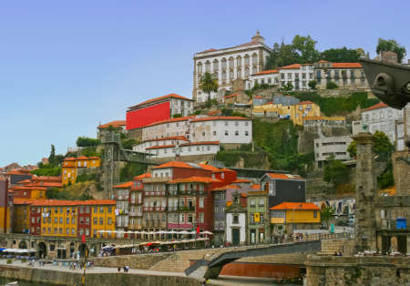 Classic landscape of beautiful houses on the high mountain in Porto, Portugal photo