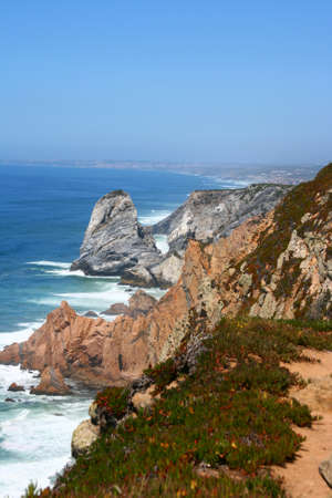 roca: Cabo da Roca is the western point of Europe, Portugal Stock Photo