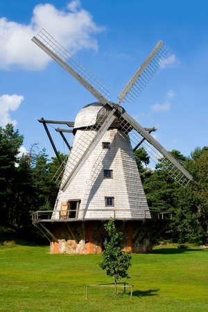 Big white mill on field, Ventspils, Latvia