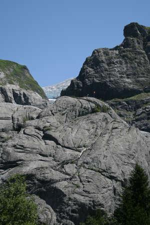 hollidays: Ladder on Grindelwald Glacier, Switzerland Alps