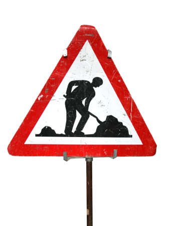 Isolated on white road works sign in Bern, Switzerland. Close-up object. Clipping path included. Standard-Bild