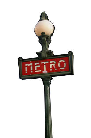Famous retro sign with lantern it's a symbol of Paris metropoliten, France. Isolated on white. Clipping path included.