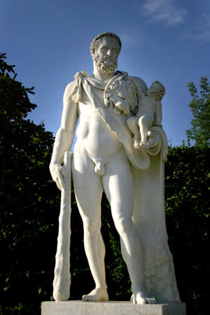 naked statue: Park on Versailles Palace, France. Editorial