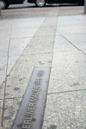 communism: This label on the streets of Berlin mark where the wall between east and west berlin used to be. Stock Photo