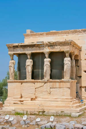 caryatids: The Porch of the Caryatids of Erechtheion in Acropolis of Athens, Greece. Editorial