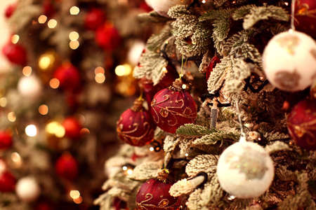 Christmas tree with beautiful and colorful ornaments Stock Photo - 11789191