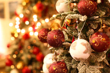 Christmas tree with amazing beautiful and colorful ornaments