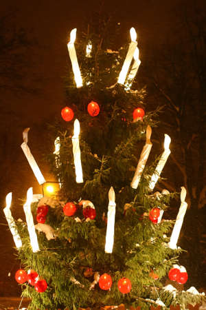 Christmas tree is shining and sparkling in the night with wonderful big candles and ornates in Riga, Latvia photo