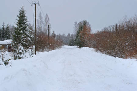 Countryside winter road in a very high snowfall in village of Latvia Stock Photo - 11929449