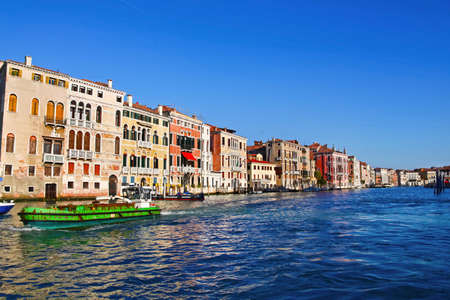 Amazing landscape of Venice  View from a boat of romantic italian Grand Canal