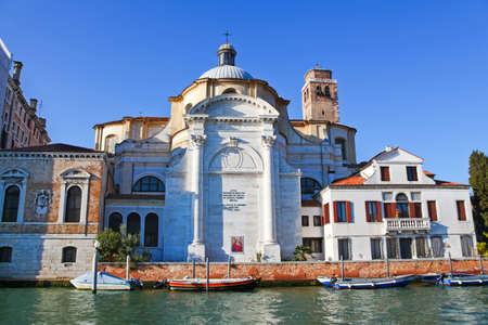 11th century: View of the famous San Geremia church in Venice, Italy. View from the Grand canal. Stock Photo