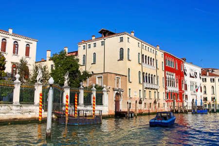 View from vaporetto to famous Grand Canal and architecture of Venice, Italy photo