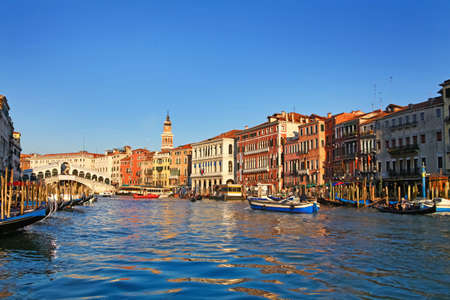 Amazing architecture of Venice from view of Grand Canal and Rialto Bridge, Italy