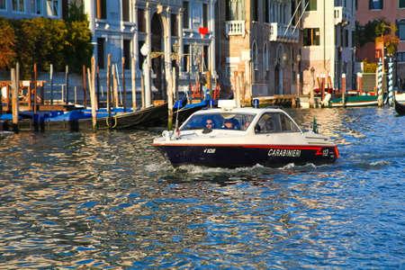patrolling: Italian carabinieri are patrolling Grand Canal in Venice, Italy