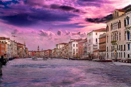 Beautiful sunset with vanilla sky over famous Grand Canal in Venice, Italy Stock Photo