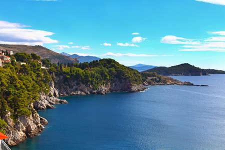 Beautiful scenic view of Adriatic sea near Dubrovnik in Croatia.
