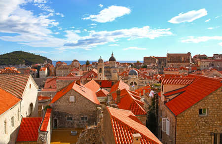 croatia dubrovnik: View of many landmarks of Old town in city of Dubrovnik, Croatia. Classic red tiled rooftops with Adriatic sea and island also are beautiful.