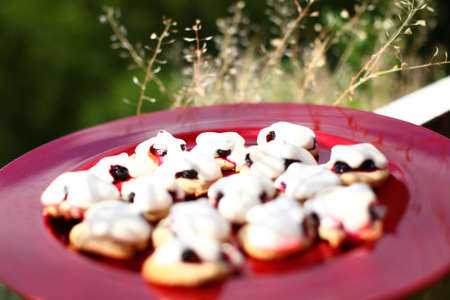 Shortbread sable with black currants, meringue and walnut  Tasty cookies served on a red dish