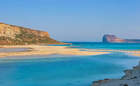 Beautiful Balos Lagoon and Gramvousa island on Crete, Greece  Cap tigani on the left