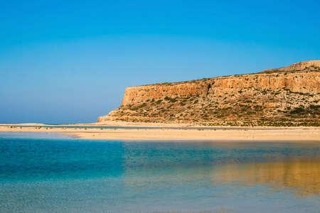 Beautiful Balos Lagoon and Gramvousa island on Crete, Greece  Cap tigani in the center