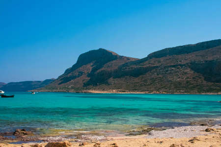 Beautiful Balos Lagoon with high mountains and Gramvousa island on Crete, Greece