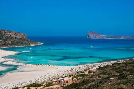 Beautiful Balos Lagoon and Gramvousa island on Crete, Greece  Cap tigani on the left