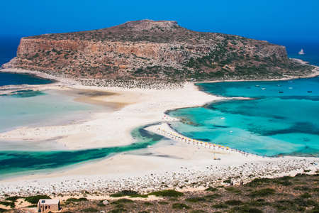 Fantastic panorama of Balos Lagoon and Gramvousa island on Crete, Greece  Cap tigani in the center