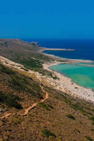 Balos Lagoon and Gramvousa island with mountain hiking trail on Crete, Greece