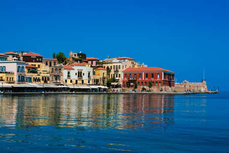 Beautiful cityscape and bay in city of Chania on island of Crete, Greece Stock Photo
