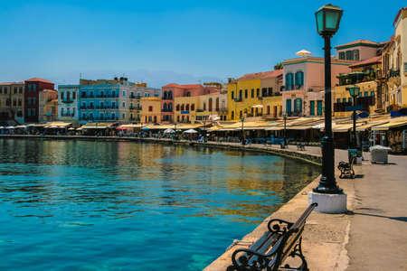 crete: Beautiful cityscape and promenade in city of Chania on island of Crete, Greece Stock Photo