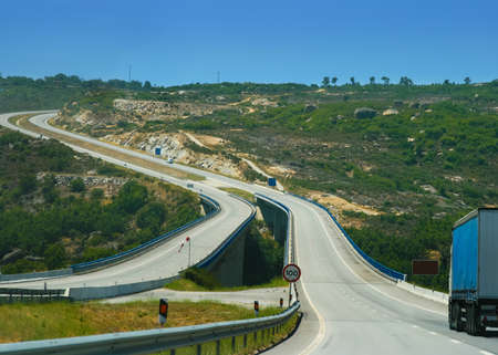 autotruck: European highway in Portugal with dangerous turns