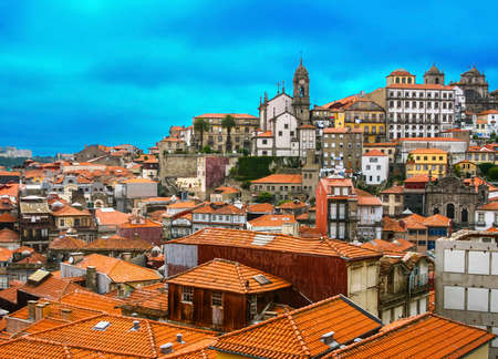 Beautiful view of Old town of Porto in Portugal with beautiful sunset clouds Standard-Bild