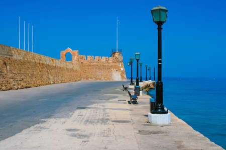 Beautiful promenade and surrounding wall in city of Chania on island of Crete, Greece