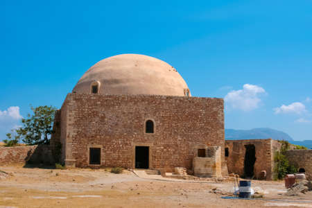 Ibrahim Han Mosque in Rethymno as part of Rethymno fortress at island of Crete, Greece