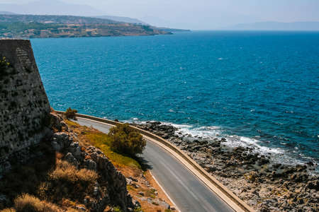 fortezza: Fortezza of Rethymno at island of Crete, Greece with beautiful road and Mediterranean sea