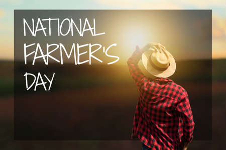Farmer at sunset outdoor. National Farmer's Day Text. Space for text.