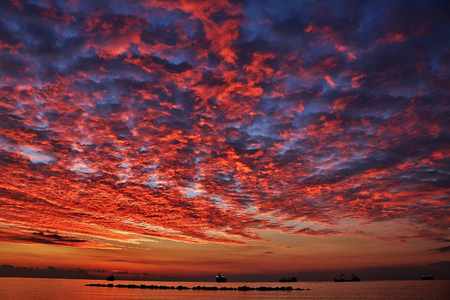 Colorful clouds over the sea