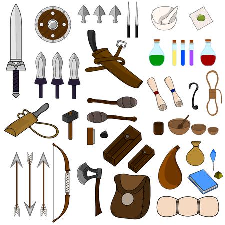 Raccolta di 46 elementi per l'avventura isolato su sfondo bianco. Equipaggiamento da avventuriero. Armi medievali, borse, pozioni magiche, stoviglie, torce, arco, pergamena.