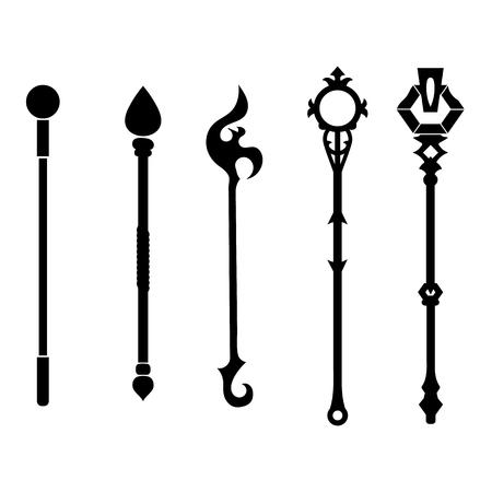 Satz Personalikonen lokalisiert auf weißem Hintergrund. Magische Waffe.