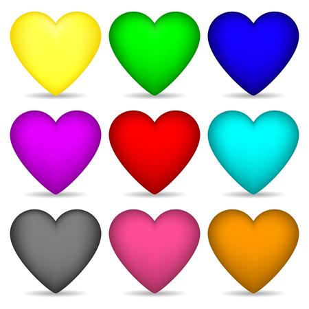 Set gekleurde harten geïsoleerd op een witte achtergrond voor uw ontwerp, spel, kaart. Vectorillustratie.