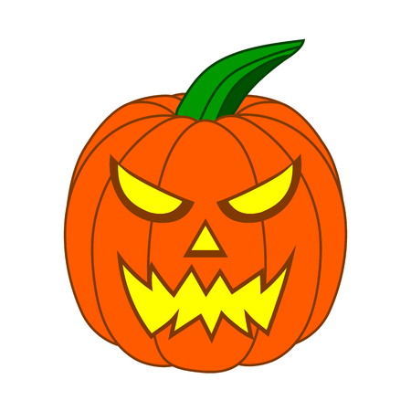 Cute Cartoon Halloween Pumpkin with funny face, isolated on white background for your Design, Game, Card. Jack-O-Lantern. Vector Illustration. Ilustração