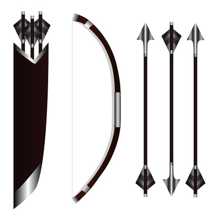 Bow Weapon with Arrows and Quiver isolated on white background. Vector Illustration for Design, Game, Card, Web.