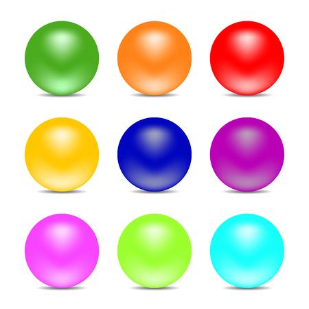 Sfere di colore arcobaleno isolate su priorità bassa bianca. Sfere lucide. Impostare per elementi di design. Illustrazione vettoriale Vettoriali