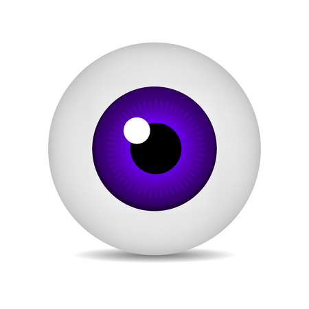 Realistic Vector Illustration Icon 3d Round Image Violet Eyeball. Violet Eye isolated on white background. Vector Illustration for Your Design, Game, Card, Web.