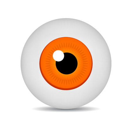 Realistic Vector Illustration Icon 3d Round Image Yellow Eyeball. Yellow Eye isolated on white background. Vector Illustration for Your Design, Game, Card, Web.