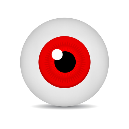 Realistic Vector Illustration Icon 3d Round Image Red Eyeball. Red Eye isolated on white background. Vector Illustration for Your Design, Game, Card, Web.