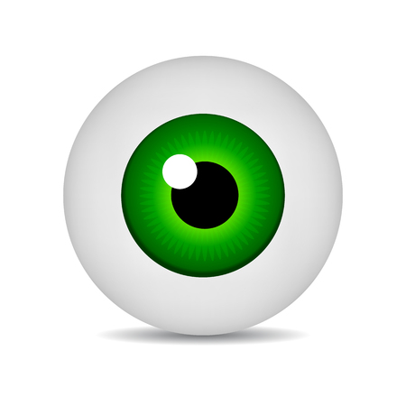 Realistic Vector Illustration Icon 3d Round Image Green Eyeball. Green Eye isolated on white background. Vector Illustration for Your Design, Game, Card, Web.