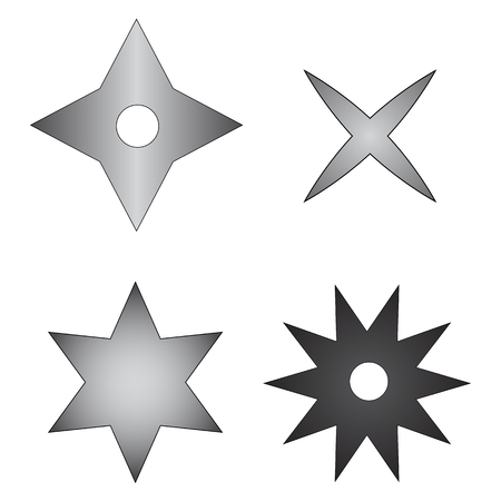 Shurikens Ninja Weapon isolated on white background. Traditional japanese weapon. Vector Illustratoin for Your Design, Game, Card.