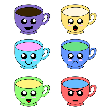 Cup Emoticons Set with Cheeks and Eyes isolated on white background. Colored Kawaii Doodle Cups Character in Fat Design with Cute Anime Faces. Vector Illustration for Your Design.