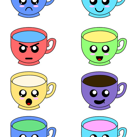 Cup emoticons set with cheeks and eyes. Cups on pattern with candies. Colored kawaii doodle cups character in flat design with cute cartoon faces. Vector illustration for Your Design.